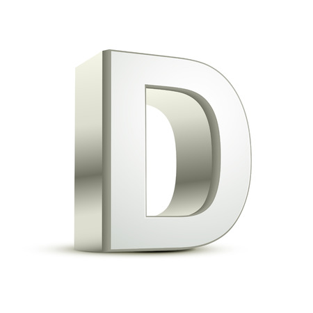 d: 3d silver letter D isolated white background Illustration