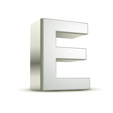 e white: 3d silver letter E isolated white background