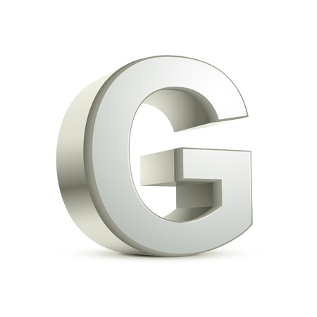 letter g: 3d silver letter G isolated white background