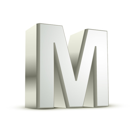 metal letter: 3d silver letter M isolated white background
