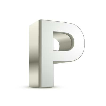 metal letter: 3d silver letter P isolated white background