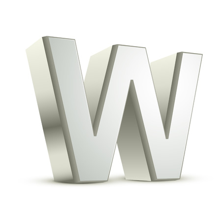 three dimensional shape: 3d silver letter W isolated white background Illustration
