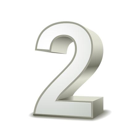 3d glanzend zilver nummer 2 op witte achtergrond Stock Illustratie