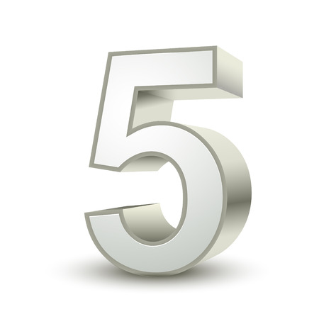 five objects: 3d shiny silver number 5 on white background
