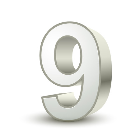 3d shiny silver number 9 on white background Vector
