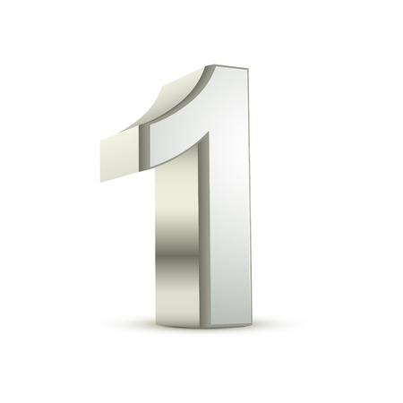 白い背景の 3 d 光沢のある銀数 1