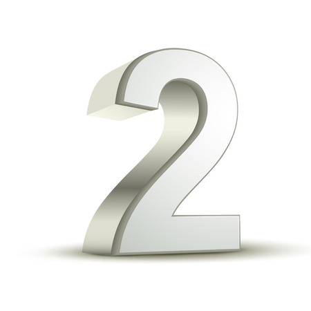 two objects: 3d shiny silver number 2 on white background Illustration