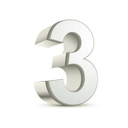 digital number: 3d shiny silver number 3 on white background