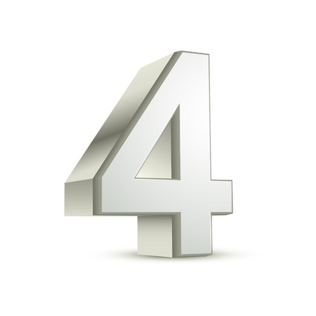 3d shiny silver number 4 on white background Vector