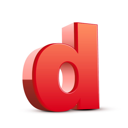 d: 3d red letter d isolated white background Illustration
