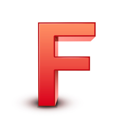 letter f: 3d red letter F isolated white background