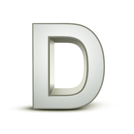a d: 3d silver letter D isolated white background Illustration