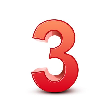 흰색 배경에 3d 반짝이 빨간색 숫자 3 일러스트