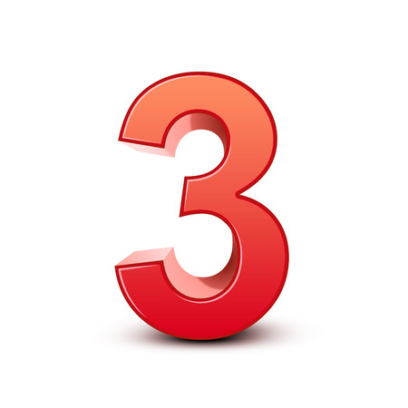 three objects: 3d shiny red number 3 on white background