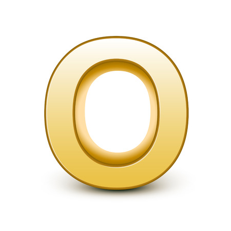 3d golden letter O isolated white background Illustration