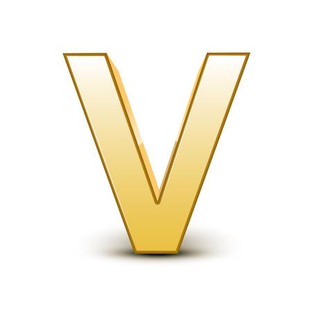 letter v: 3d golden letter V isolated white background