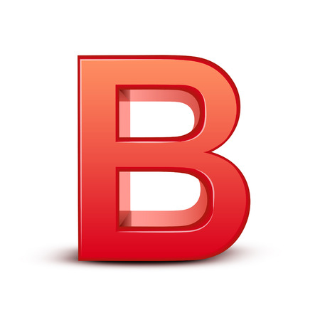 letter b: 3d red letter B isolated white background Illustration