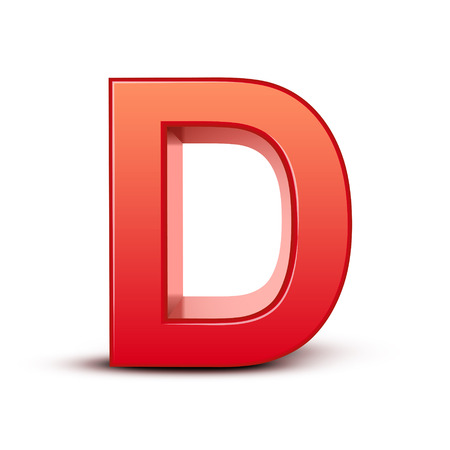 d: 3d red letter D isolated white background