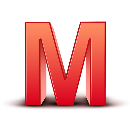 3d red letter M isolated white background