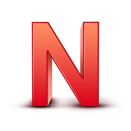 letter n: 3d red letter N isolated white background Illustration