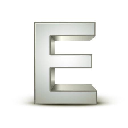 letter e: 3d silver letter E isolated white background