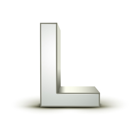 l: 3d silver letter L isolated white background Illustration