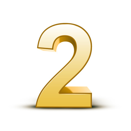 Lucido 3d golden number 2 su sfondo bianco Archivio Fotografico - 26697907