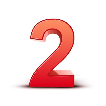 白い背景の 3 d 光沢のある赤ナンバー 2