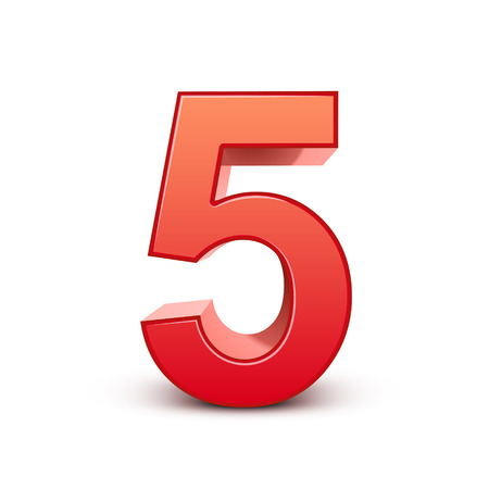 five elements: 3d shiny red number 5 on white background