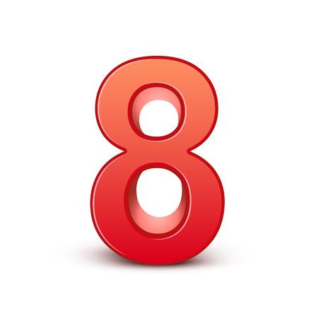 3d glanzende rode nummer 8 op een witte achtergrond