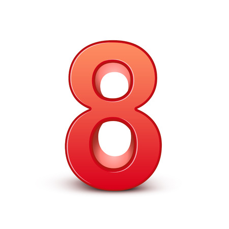 3d shiny red number 8 on white background