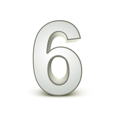 six objects: 3d shiny silver number 6 on white background