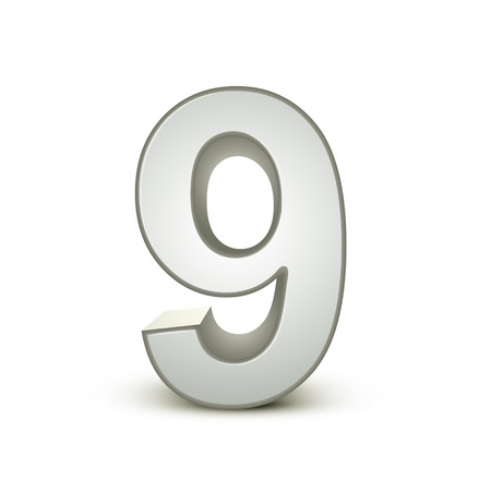 3d shiny silver number 9 on white background