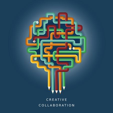assemble: illustration concept of creative collaboration Illustration