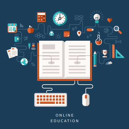 online book: illustration concept for online education