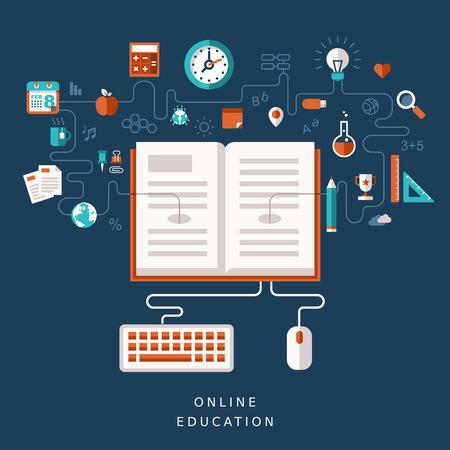eğitim: online eğitim için illüstrasyon kavramı Çizim