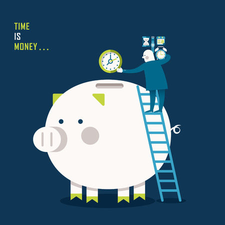 time money: illustration concept of time is money Illustration