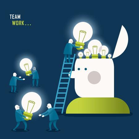 チームワークのイラストの概念