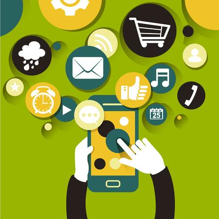 mobile apps: flat design style illustration concept for mobile apps