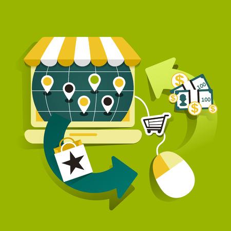illustration concept of online shop Vector