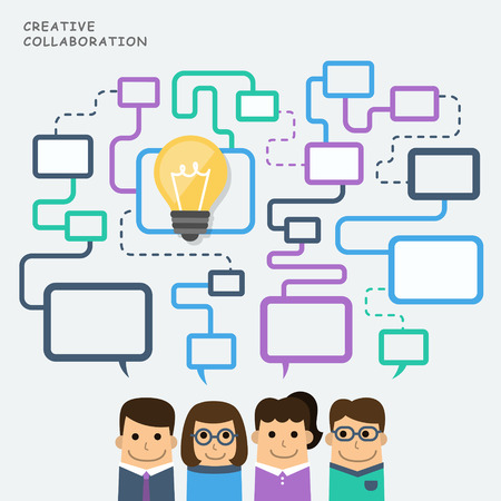 Ilustración del concepto de la colaboración creativa Ilustración de vector
