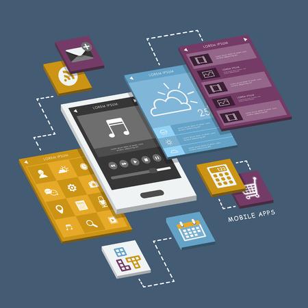携帯電話インターフェイスとスクリーン インフォ グラフィック デザイン  イラスト・ベクター素材