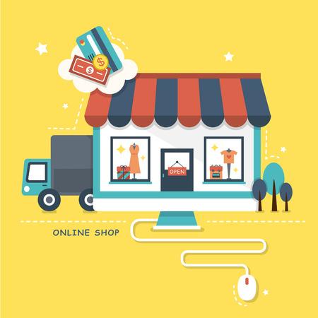 compras: ilustración concepto de tienda online