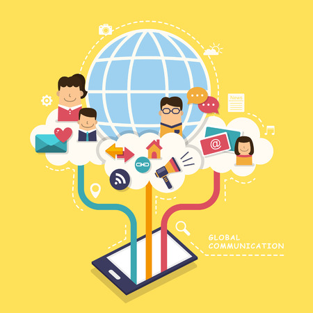flat design concept illustration with icons of global communication Vector