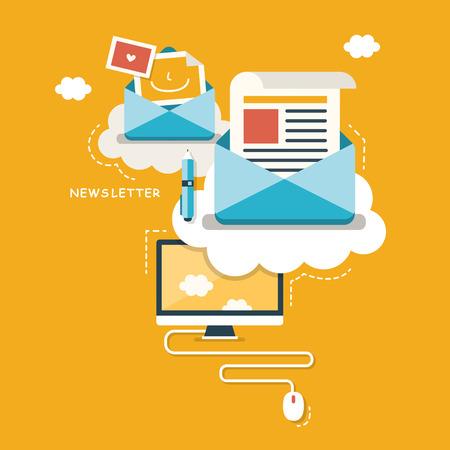platte design concept van regelmatig verdeeld nieuwsbulletin via e-mail met een aantal onderwerpen die van belang zijn voor haar abonnees Stock Illustratie