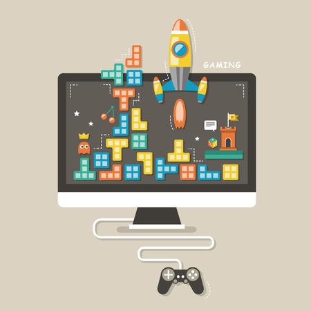 인터페이스에 대한 컴퓨터 게임의 평면 디자인 아이콘 개념 일러스트