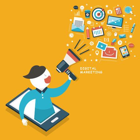 クラウド デジタル マーケティング概念とフラットなデザインのメガホン
