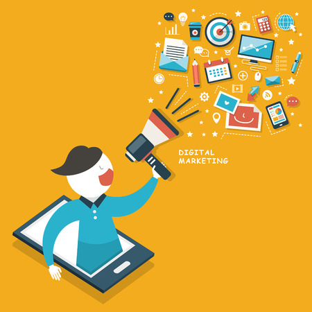 구름 디지털 마케팅 개념 평면 디자인 메가폰 일러스트