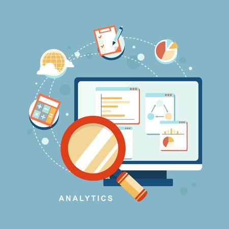 フラットなデザインのウェブサイト SEO の最適化、プログラミング プロセスと web analytics 要素のアイコンを設定  イラスト・ベクター素材