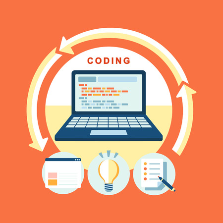 programming: flat design concept of process web page coding and programming